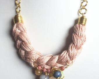 Braided pink rose necklace