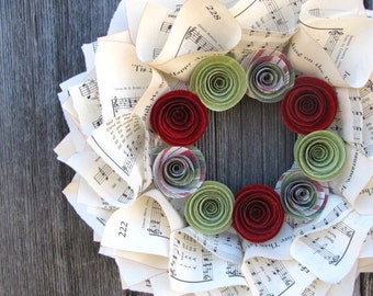 """Christmas Wreath, Music Wreath for Christmas with Red and Green Flowers, 10"""""""