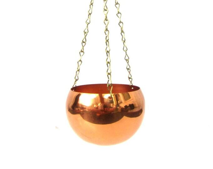 Vintage Hanging Copper planter Mod home decor Coppercraft Hanging Basket Small Succulent Planter Home Decor