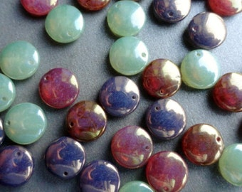 Premium Czech Glass Beads - Luster lentil Mix - Large Lentil Beads - Bead Soup Beads