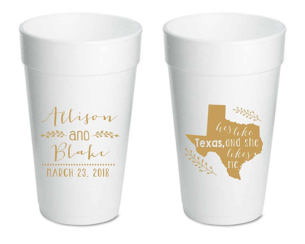 Texas Wedding Cups Texas Styrofoam Wedding Cups Styrofoam
