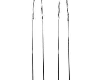 925 Silver Threader Earrings with Thin Bar