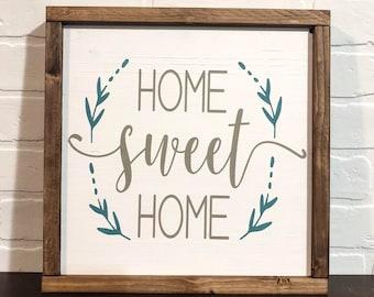"12""x12"" - Home Sweet Home - Wood Sign"