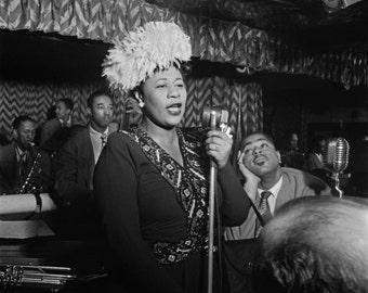Ella Fitzgerald, Dizzy Gillespie, New York City, jazz, Black & white, old, vintage antique, photo, photography, picture, print, fine art