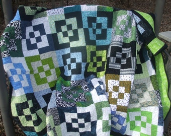 Handmade Twin Size Quilt, Black White Blue Green Quilt, Modern Quilt, Contemporary Bed Quilt, Modern Bedding, Patchwork Quilt Blanket