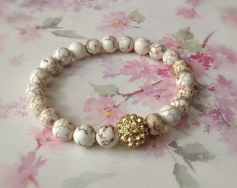 Stretch Bracelet Ivory White Howlite Gold Rhinestone Pave Bead Bracelet Gemstone Bracelet Clearance Sale