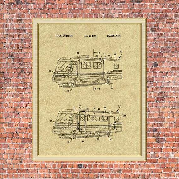 Motorhome Campervan RV Winnebago Original Patent Print