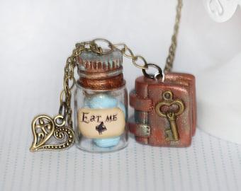 Alice in Wonderland Necklace - Fairy Tale necklace - Spell Book Necklace - Key Necklace - Fairy Tale Jewelry - Kawaii necklace