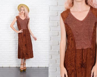 Vintage 80s 90s Brown Midi Dress Grunge Crochet India Ethnic Knit Sleeveless M 9936