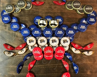 THE ORIGINAL Red White and Blue Bottle Cap Crab©