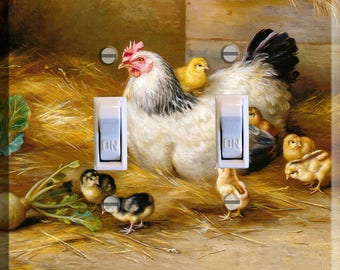 Chicken and Hens Light Switch Plate Cover Kitchen Decor