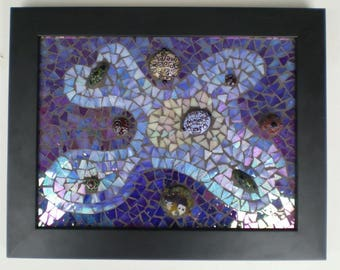 Objects in space stained glass mosaic wall art