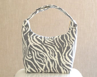 Lunch Bag Insulated, Women Lunch Bag, Women Small Purse,Fabric Lunch Bag, Eco Friendly Lunch Tote, Gray Zebra Print