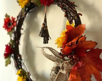 Autumn Harvest Wreath // 12 Inches // Fall Decor, Wall Art // Zombiesque Creations