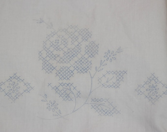 Vintage GC Murphy Roses Tubing Pillowcases-Set-Estate-Need embroidered