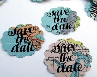 Save the Date Stickers, Hand Lettered Vintage Atlas Stickers, Real Calligraphy, World Map Envelope Seals, Destination Wedding, Custom Date