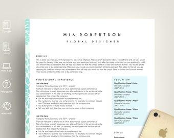 creative resume template, resume template ms word, CV template, easy resume, professional resume, art teacher resume, Mia resume