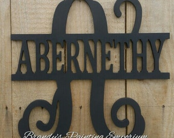 Last name door hanger, monogram, hand painted, door hanger, home decor, wood sign, wood hanger, wall hanging