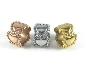 Heart Charm Bead, Charm Bracelet Bead, Stainless Steel Charm, Large Hole Bead, Charm Bead, Bracelet Charm, Gold, Silver, Rose Gold