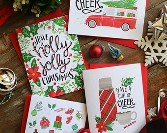 Set of four, Be Filled with Cheer, Holly Jolly Christmas, Have a cup of Cheer, Christmas faves seasonal Folded Note Cards, Holiday Cards