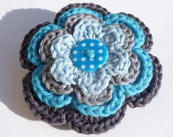 Blue and grey flower brooch made with crochet