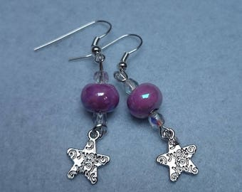 Pink earrings with star ref 284