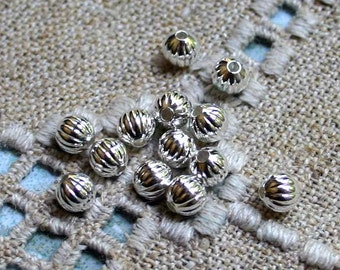 1000pcs 4mm Metal Bead Silver Plated Brass Corrugated Round Spacer