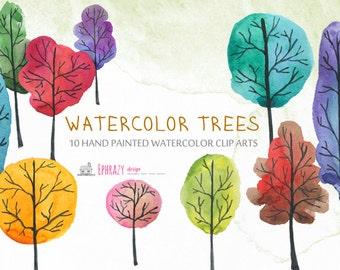20-35% OFF Watercolor clipart. Fall clipart. Autumn clipart. Trees clipart. Watercolor trees. Fall trees. Watercolor. Fall clip art.