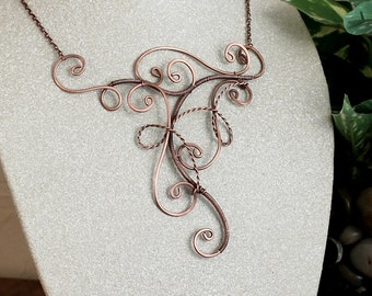 Copper Statement Necklace, Copper Wire Necklace, Wire Wrapped Necklace, Wire Art Necklace, Unique Necklace for Women Gift , Copper Jewelry