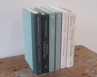 Green and Ivory Decorative Books Set, Stack of Books, Wedding Centerpiece, Green Decor, Shelf Decor, Mantel Decoration, Books by Color