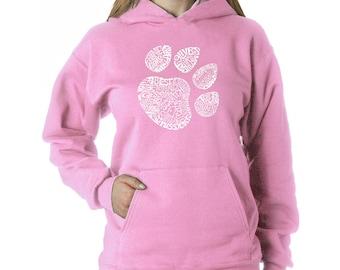 Vrouwen Hooded Sweatshirt - kat Paw Prints gemaakt uit de Word-Meow