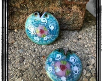 Blue Crackle Finish Enamel Charms