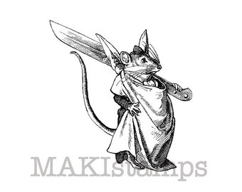 Mouse rubber stamp / Mouse with knife / Unmounted rubber stamp (140106)