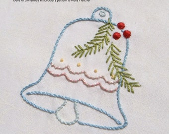Bells of Christmas modern hand embroidery pattern - modern embroidery PDF pattern, digital download