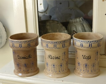 French Vintage ART DECO Porcelain Set of 3 Kitchen Storage Jars / ceramics stoneware / beboterd / tea stained