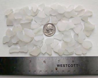 4oz - white natural sea glass- medium-size