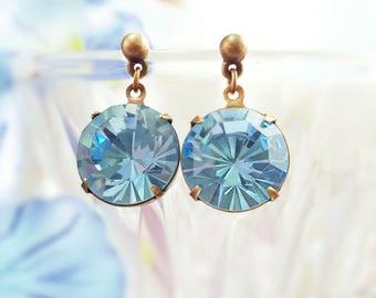 Aquamarine Earrings - Swarovski Crystal Earrings - Light Blue Earrings - Blue Statement Blue Dangle Earrings - March Birthstone Gift E9329