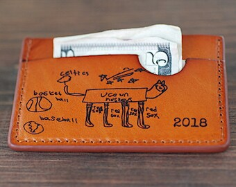 Your Childs Actual Handwriting On a Wallet - Fathers Day Gift From Wife, Gifts for Men, Dad, Letter wallet, For Him, Hubby,