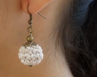 Silver earrings, bride earrings, wedding earrings, crochet earrings.