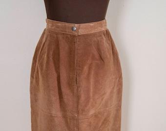 80s Pelle Tan Suede High Waist Pencil Skirt Size 10 Medium