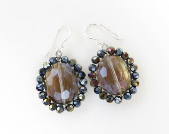 Crystal earrings with sterling silver ear wires, black smokey crystal