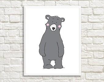 Bear Printable Scandinavian Nursery Wall Art,Woodland Printable Children Art,Bear Children Art,Bear Decor,Bear printable,Bear Kids Art