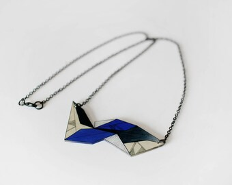 Geometric Necklace, unique shrink plastic necklace, metal chain jewelry, nickel free, blue and cream jewellery