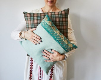 """Mint Green Felted Wool Pillow Cover with Vintage Sari Trim 16"""" x 16"""""""