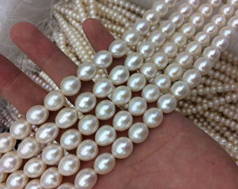 10-11mm Freshwater Big Pearl  Strand Necklace, High Luster  Cultured Drop Pearl String, Genuine Natural White Color Pearl Supply