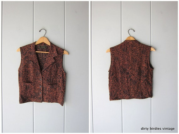 90s Rayon Vest Top Brown Black Shell Tank Vintage 90s Express Cropped Shirt with Pockets Boho Crop Top Tank Vest Womens XS