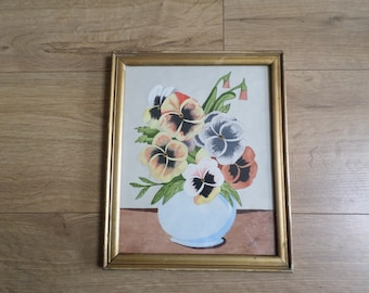 Vintage Art Deco Hand Painted Naive Watercolour, Vase of Pansy Flowers, 'C Bailey' framed and glazed