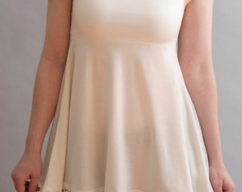 Candice Tank Top in Ivory with Organic Linen Lace
