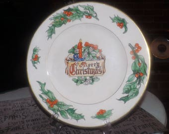 Mid-century (c.1950s) and RARE! Fondeville NY Christmas dinner plate featuring the saying of Walter Duff to the reverse. Holly, berries.