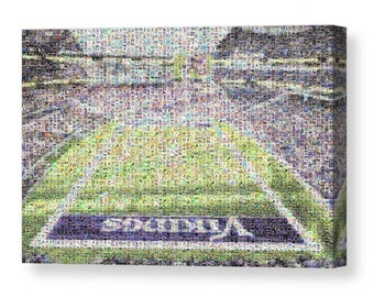 Large, Unique Minnesota Vikings Mosaic Art Print of US Bank Stadium from over 200 Viking Player Trading Card Images with all the Greats!